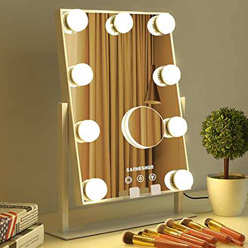Vanity Mirror Makeup with Lights, Hollywood Mirror 9 Bulbs with Phone Holder Detachable 10X Magnifier, 360 Roratation 3 Colors Lights Smart Touch Control Screen Mirror for Bedroom, Tabletop(White)