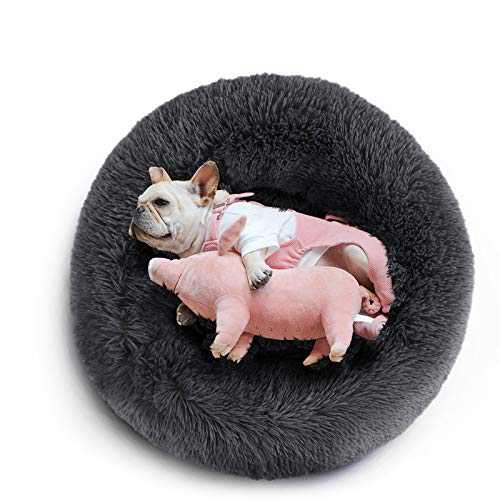 """COOSLEEP HOME Calming Dog Bed for Dog & Cat with Faux Fur Donut Cuddler and Non-Slip, Waterproof Base, Machine Washable, Durable (S(23"""" x 23"""", Dark Grey)"""