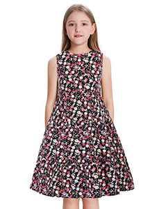 GRACE KARIN Girls Summer Sleeveless Swing Dress Pleated A Line Dress Floral-1 8Y