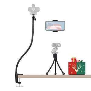 27 Inch Webcam Stand Camera Mount with Phone Holder - Bonus Webcam Tripod Stand - Enhanced Flexible Desk Mount Clamp Gooseneck Stand for Logitech Webcam C930e,C930,C920,C922x,Brio 4K,C925e,C615