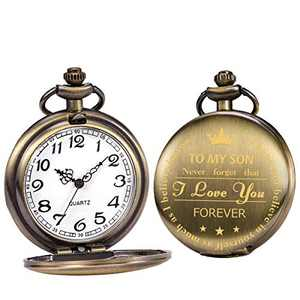 SIBOSUN Personalized Engraved Pocket Watches to My Son Forever Gifts for Son from Mom Dad for Christmas Birthday Graduation Copper