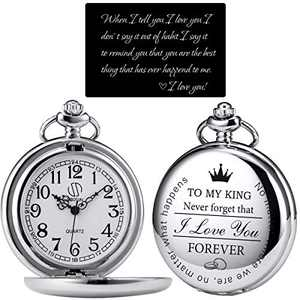 SIBOSUN Pocket Watch for Men Who Have Everything Birthday Gifts for Men Personalized Gifts for Husband Boyfriend (King) Customized Silver-Grey