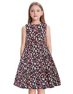 Girls Kid Sleeveless Floral Tiered Dress Casual A-line Pleated Dress Floral-1 6Y
