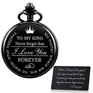 SIBOSUN Pocket Watch for Men Who Have Everything Birthday Gifts for Men Personalized Gifts for Husband Boyfriend (King) Engraved Gun-Black