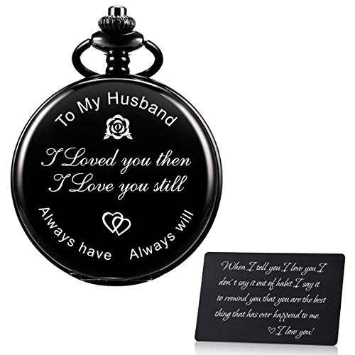 SIBOSUN Personalized Engraved Pocket Watch Valentines for Husband | Anniversary Day for Men | Engraved to My Husband Pocket Watch - for Husband from Wife Birthday Happy Valentine's Day! Gun-Black