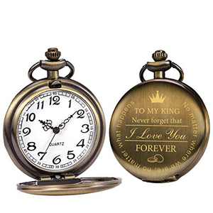 SIBOSUN Pocket Watch Men Personalized Black Chain Quartz Gift King Engraved