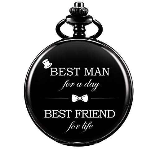 SIBOSUN Pocket Watch Men Personalized Black Chain Quartz Gift Best Man Engraved Engraving