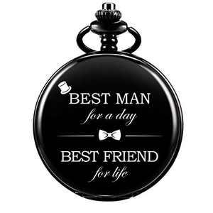 SIBOSUN Best Man Pocket Watches for Wedding or Proposal - Engraved Best Man Pocket Watch - Night-Black