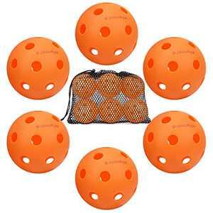 Indoor Pickleball Balls 6 Pack, JoncAye Pickleball Ball Set in Mesh Ball Bag, USAPA Standard Pickleball Set for Indoor Sports, Orange Pickleball Balls, Pickleball Accessories, Highly Durable