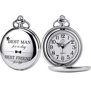 SIBOSUN Pocket Watches Groomsmen/Groomsman for Wedding | Best Man | Father of The Bride | Father of The Groom - Pocket Watch Silver-White