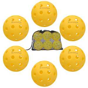 JoncAye Pickleball Balls 6 Pack Outdoor Pickleball Balls with Mesh Ball Bag, Pickleball Set for Outdoor Play, USAPA Standard Pickleball Ball Set for Outdoor Pickleball Games, Pickleball Accessories