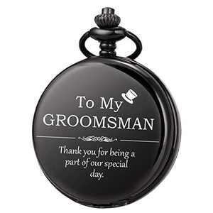 SIBOSUN Groomsmen for Wedding or Proposal - Engraved to My Groomsman Pocket Watch - Wedding Gun-Black