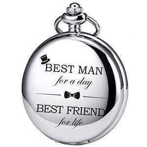 SIBOSUN Groomsmen/Groomsman for Wedding | Best Man | Father of The Bride | Father of The Groom - Pocket Watch Wedding Silver-Grey