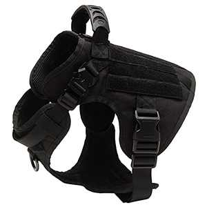 PINA Tactical Dog Harness for Large Dogs No Pull, No Pull Dog Harness, Large Dog Vest Harness for Training Hunting Walking, Dog Military Harness Molle Vest, Easy Walk Version - Black / L