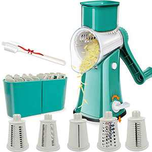 Aurrako Rotary Cheese Grater Shredder with Handle,Kitchen Vegetable slicer with 5 Stainless Steel Drum Blades,Easy Clean 18X Faster Food Grater Shredder, Non slip Best Mandoline Slicer(Green)
