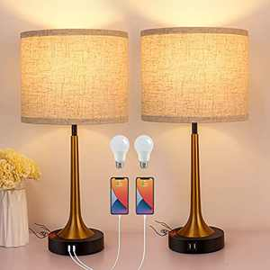 Set of 2 Touch Table Lamps with USB Ports and AC Outlet 3-Way Dimmable Bedside Lamps for Bedroom Small Bed Desk Lamp for Living Room Office Reading (Bulbs Included)