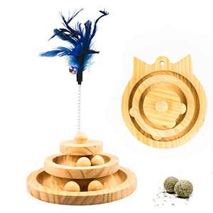【2021 Update】 Cat Ball Track Cat Toys Safety Material Wooden Natural Cat Toy of Play Circle Track with Moving Balls Satisfies Kitty's Hunting, Chasing & Exercising Needs Pet Supplies (Catnip ball DIY)