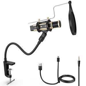 ZealSound Condenser Microphone, Gooseneck Arm Stand & Pop Filter with Shock Mount Table Clamp for Streaming, Podcasting, Recording, YouTube Compatible with Phone Mac Laptop Desktop Computer (Gold)