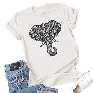 Vdnerjg Women's Cute Elephant Graphic T Shirts Summer Short Sleeve Casual Cotton Tees Tops White