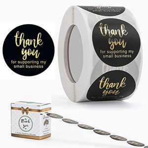 1.5inch Thank You Stickers, Thank You for Supporting My Small Business Stickers, Round Labels for Golden Font,Decorative Sealing Labels,500 Labels Per Roll