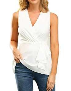 JASAMBAC Women's Sleeveless V Neck Ruffle Blouse Ruched Wrap Tops Peplum Tank Tops White 2XL