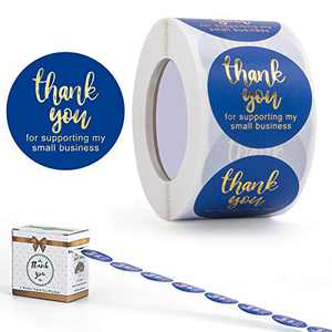 Thank You Stickers, Thank You for Supporting My Small Business Stickers, Round Labels for Golden Font,Decorative Sealing Stickers for Wedding, Party,1.5 inch 500 Labels Per Roll