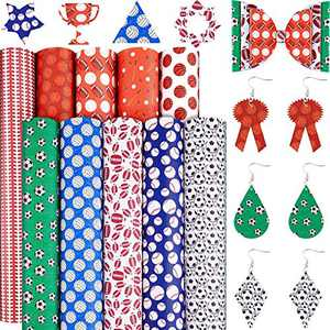 10 Pieces Ball Printed Faux Leather Sheets Football Baseball Volleyball Basketball Pattern Leather Fabrics Sports Theme Synthetic Leather Fabrics for DIY Earring Jewelry Hair Bow Craft, 8 x 12 Inch