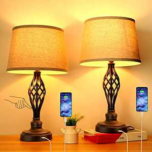 Set of 2 Touch Control 3-Way Dimmable Table Lamp Nightstand Lamp with USB Port AC Outlet Bedside Desk Lamp with Fabric Shade for Living Room Bedroom, Warm White Bulbs Included
