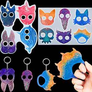 2 Pieces Keychain Resin Mold Unicorn Keychain Pendant Silicone Mold Epoxy Resin Casting Mold for DIY Crafts Jewelry Making Polymer Clay (Whale Rabbit Cat Claw Knuckles Owl Skull Animal)