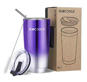 DLOCCOLD 20/30oz Tumbler Double Wall Stainless Steel Vacuum Insulated Coffee Travel Mug with Lid and Straw (20oz Tumbler, Mirror Purple)