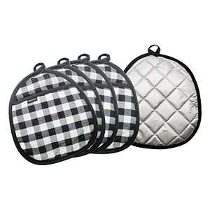Dikermoon 100% Cotton Oven Set Pot Holders, Heat Resistant with Hanging Loop, Oval Potholder, 5 Pack(Black and White Grid)