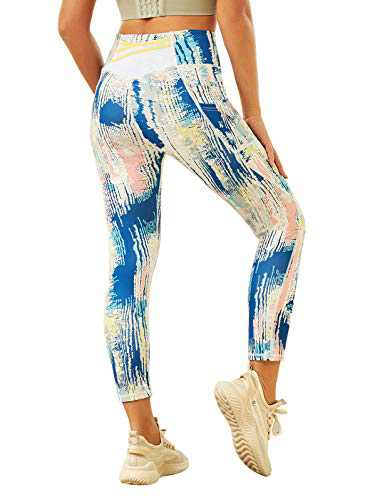 JACK SMITH Capri Yoga Pants for Women Tie Dye Printed Leggings with Pockets Compression Running Pants (Blue Dyeing, M)