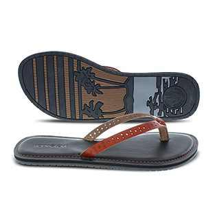 Body Glove Womens Flip Flops || Leilani || (Comfortable Summer Vegan Leather Fashion Flip Flops & Lightweight Beach Sandals for Women) Brown Flip Flops for Women
