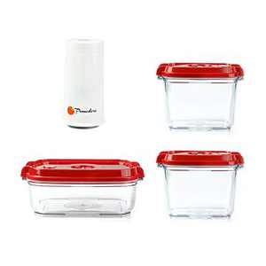 Pomodoro Food Saver Container Set - Food Storage Vacuum Seal Containers with Automatic Vacuum Sealer Pump - Preserve Food Longer, Stackable, Airtight, Great for Marinating Meat & Food (3-Piece + Pump)