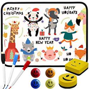 """Bertiveny Magnetic Dry Erase Board for Kids Small White Board for Students Mini Whiteboard 8.3""""X11.8""""with Markers Erasers and Beads (Black)"""