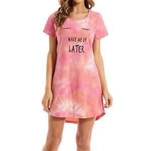 Lu's Chic Women's Short Sleeve Nightgown 100% Cotton Sleepwear Cute Sleepshirts Tie Dye Sleep Soft Red Small