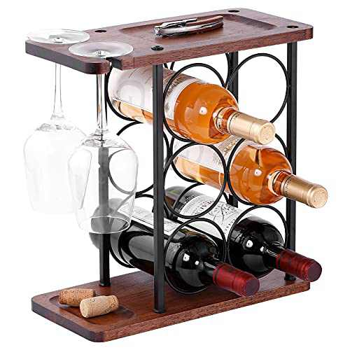 Wine Racks Countertop,HOWIDA Wooden Freestanding Floor Wine Holder, Perfect for Home Decor,Kitchen,Cabinet Pantry,Bar Tabletop(6 Bottles and 2 Glasses)