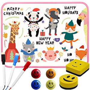 """Bertiveny Magnetic Dry Erase Board for Kids Small White Board for Students Mini Whiteboard 8.3""""X11.8""""with Markers Erasers and Beads (Pink)"""