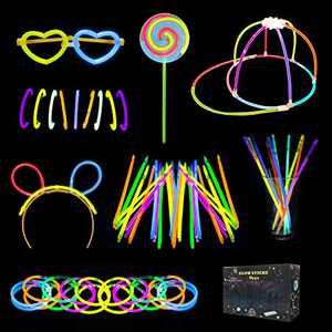 balnore Glow Sticks for Kids, 136 PCS Light up Toys Glow Sticks Bulk, 7 Colors Party Favors Supplies with Hat Glasses Headband Lollipop Necklace Bracelet