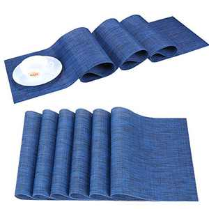 Zupro Compatible Placemats Table Runner, Heat-Resistant Crossweave Woven Washable Easy to Clean PVC Table Mats Set (6pcs placemats+1pcsTable Runner(Deep sea Blue)