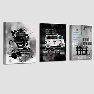Wall-Art | Black and White Motivational Canvas Wall Art | Inspirational Wall Art Quote for Office living Room Bedroom Bathrooms | Art Prints Set of 3 Pieces, 12 X 16 inches Each Panels