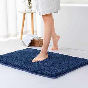 "WOWLIVE Chenille Bath Rugs Non Slip Absorbent Shaggy Bathroom Mats 16""x24"" Soft Fine Fiber Plush Carpet Machine Wash Dry for Shower Sink and Tub,Blue"