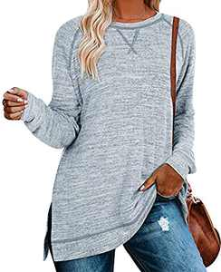 Women's Loose Solid Color Tunic Pullover Long Sleeve Shirts Side Split Casual Tops Light blue XL