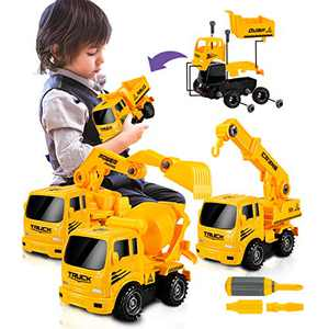 UNIH Construction Truck Toy for Boys Age 2 3 4 Year Old, Take Apart Truck Construction Vehicle Engineering Vehicle Playset Toy for Toddlers Boys Girls 2-4 Year Old