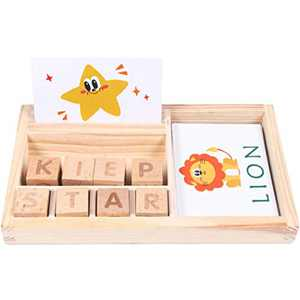 US Shippment- Spelling Word Game For Child, Wooden English Cardboard Puzzle Enlightenment Learning Toys (Multicolor)