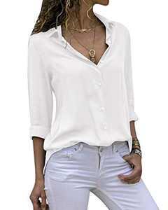 Yidarton Women's Long Sleeve V Neck Chiffon Blouses Tops Button Down Business Shirts(White,S)