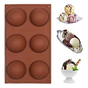 6-Cavity Semi Sphere Silicone Mold Cocoa Chocolate Bombs Molds for Hot Chocolate Candy Cake Jelly Dome Half Circle Baking Tray for DIY Cookies Cupcake Soap Desserts Ice Cream (Brown, 1Pc)