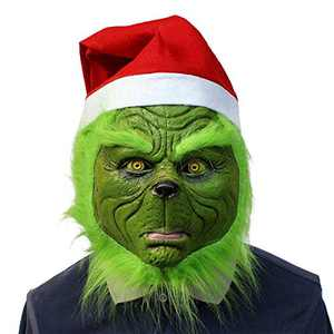 Cosplay Green Mask with Santa Hat Costume Funny Gloves Green Grinch Mask (Green mask 1 with Eyes+hat)