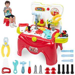 UNIH Toddler Tool Bench for Ages 3 4 5 Boys Girls, Toddler Workbench Toy Set, Kids Construction Work Shop Tools Toy Set for Child Pretend Play, Transformable Stool Toy Kit