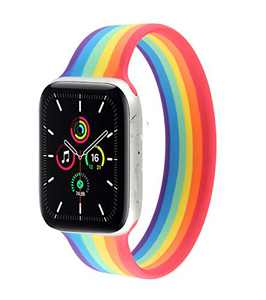 SEMETOR Braided Solo Loop Bands Compatible for Apple Watch Solo Loop Sports Bands Silicone Compatible for Apple Watch SE Series 6 5 4 3 2 1 38mm 40mm 42mm 44mm (42mm 44mm,L,Colorful)